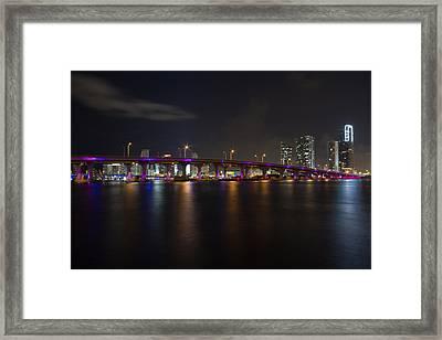 Miami Night Skyline Framed Print by Andres Leon