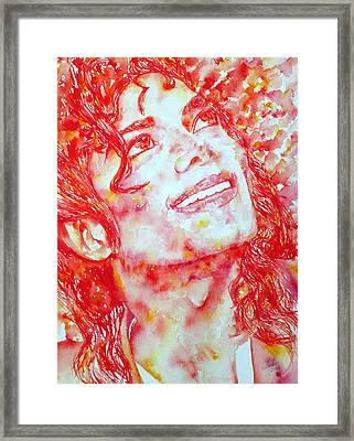Michael Jackson - Watercolor Portrait.2 Framed Print by Fabrizio Cassetta