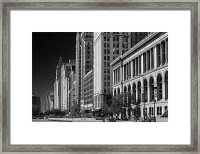 Michigan Avenue Chicago B W Framed Print by Steve Gadomski