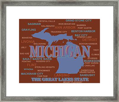 Michigan State Pride Map Silhouette  Framed Print by Keith Webber Jr
