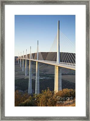 Millau Viaduct At Sunrise Midi-pyrenees France Framed Print by Colin and Linda McKie