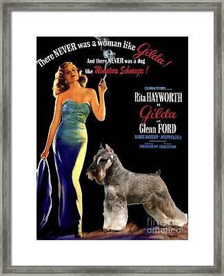 Miniature Schnauzer Art Canvas Print - Gilda Movie Poster Framed Print by Sandra Sij