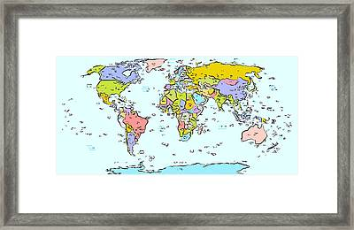 Modern World Map Framed Print by Celestial Images