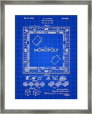Monopoly Patent 1935 - Blue Framed Print by Stephen Younts