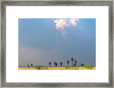 Monsoon Clouds Over Landscape Framed Print by K Jayaram