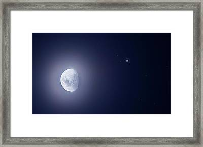 Moon And Jupiter Framed Print by Luis Argerich