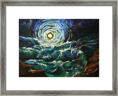 Moon And Waves Framed Print by Laila Awad Jamaleldin