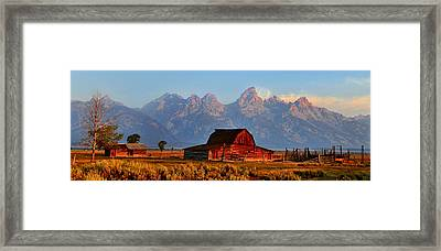 Mormon Row And The Grand Tetons  Framed Print by Ken Smith