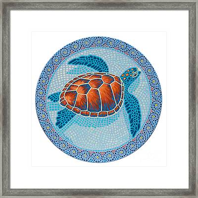 Mosaic Turtle Framed Print by Danielle  Perry