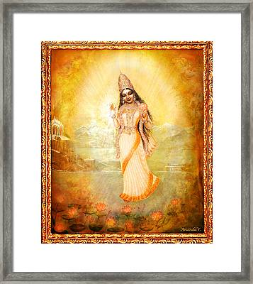 Mother Goddess With Angels Framed Print by Ananda Vdovic