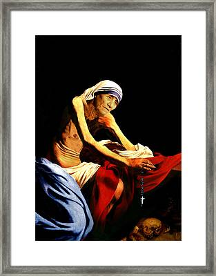Mother Teresa Seated Nude Framed Print by Karine Percheron-Daniels