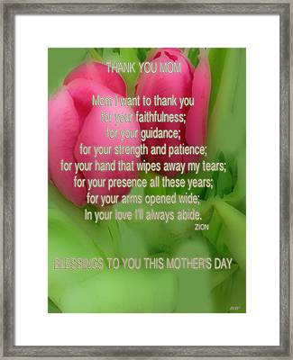 Mothers Day Poem Card Framed Print by Debra     Vatalaro