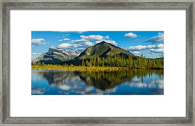 Mount Rundle And Sulphur Mountain Framed Print by Panoramic Images
