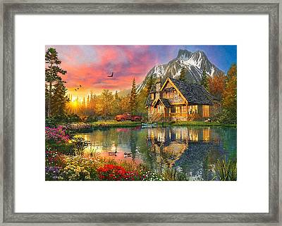 Mountain Cabin Framed Print by Dominic Davison