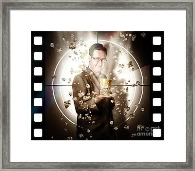 Movie Man Holding Cinema Popcorn Bucket At Film Framed Print by Jorgo Photography - Wall Art Gallery