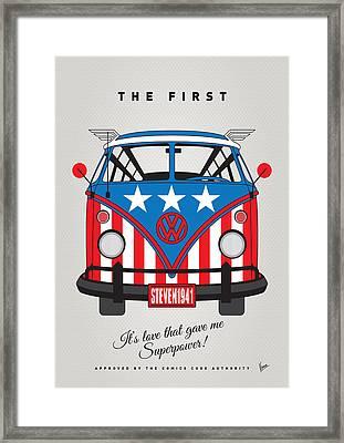 My Superhero-vw-t1-captain America Framed Print by Chungkong Art