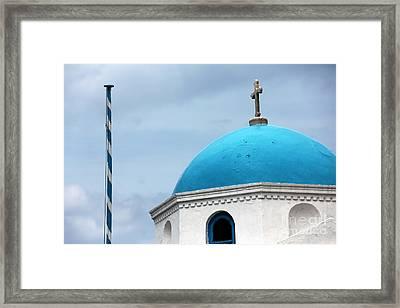 Mykonos Blue Dome Framed Print by John Rizzuto