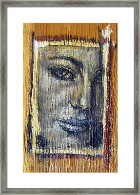 Mysterious Girl Face Portrait - Painting On The Wood Framed Print by Nenad Cerovic