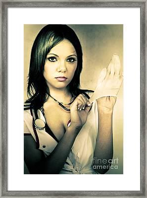 Naughty Nurse Framed Print by Jorgo Photography - Wall Art Gallery