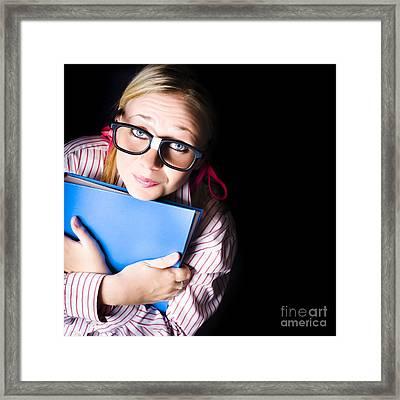 Nerd Grade School Student Holding Textbook Framed Print by Jorgo Photography - Wall Art Gallery