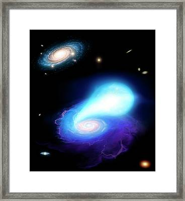 Neutron Star And White Dwarf Merging Framed Print by Mark Garlick