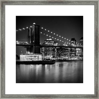 Night Skyline Manhattan Brooklyn Bridge Bw Framed Print by Melanie Viola