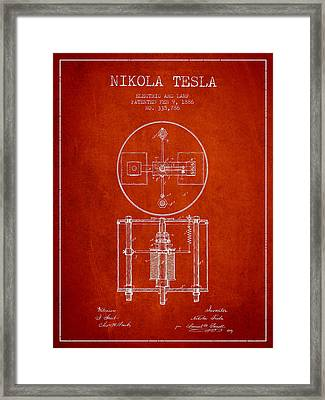 Nikola Tesla Patent Drawing From 1886 - Red Framed Print by Aged Pixel