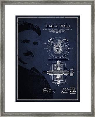 Nikola Tesla Patent From 1891 Framed Print by Aged Pixel