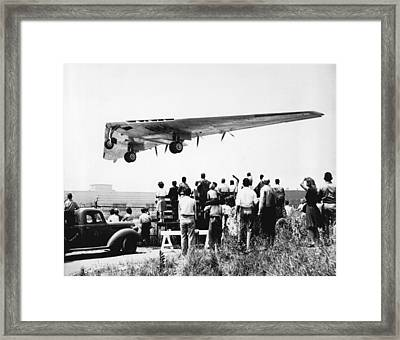 Northrop's Flying Wing Bomber Framed Print by Underwood Archives