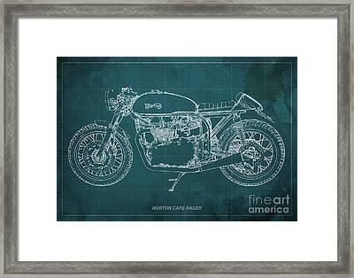 Norton Cafe Racer Blueprint Framed Print by Pablo Franchi