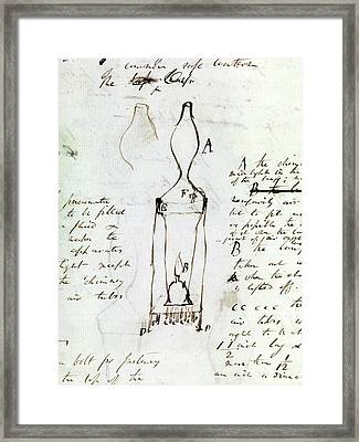 Notes On Davy Safety Lamp Framed Print by Royal Institution Of Great Britain