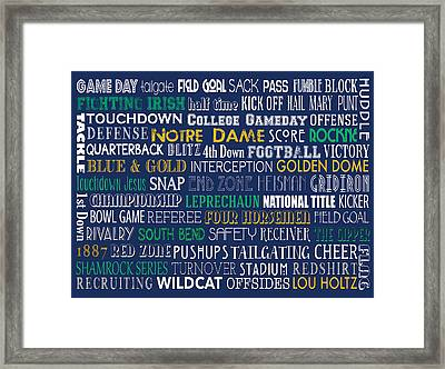 Notre Dame Football Framed Print by Jaime Friedman