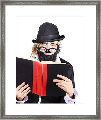 Nutty Scientific Professor Reading Book Framed Print by Jorgo Photography - Wall Art Gallery