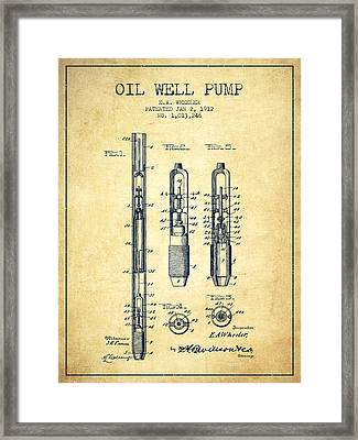 Oil Well Pump Patent From 1912 - Vintage Framed Print by Aged Pixel