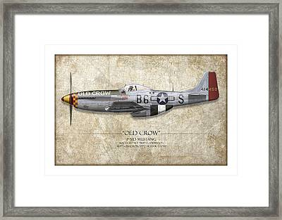 Old Crow P-51 Mustang - Map Background Framed Print by Craig Tinder