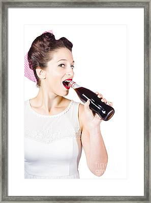 Old-fashion Pop Art Girl Drinking From Soda Bottle Framed Print by Jorgo Photography - Wall Art Gallery