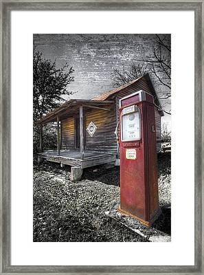 Old Gas Pump Framed Print by Debra and Dave Vanderlaan