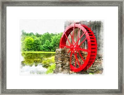Old Grist Mill Vermont Red Water Wheel Framed Print by Edward Fielding