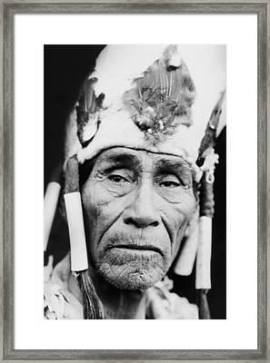 Old Klamath Man Circa 1923 Framed Print by Aged Pixel