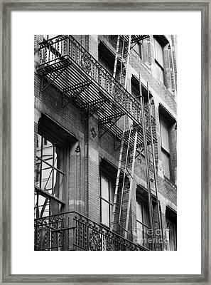 Old Metal Fire Escape Staircase On Side Of Building Greenwich Village New York City Framed Print by Joe Fox
