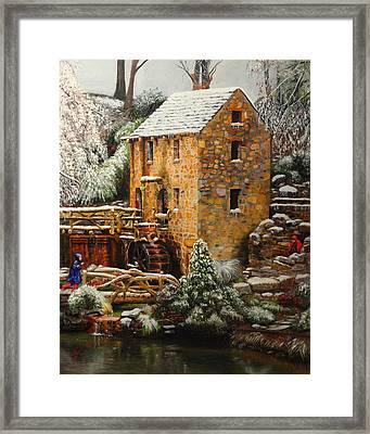 Old Mill In Winter Framed Print by Glenn Beasley