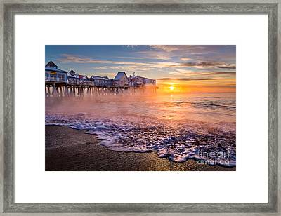 Old Orchard Beach Sea Smoke Framed Print by Benjamin Williamson