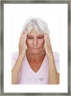 Older Lady With Headache Framed Print by Lea Paterson