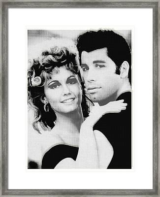 Olivia Newton John And John Travolta In Grease Collage Framed Print by Tony Rubino