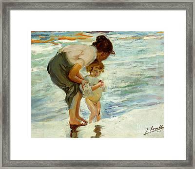 On The Beach Framed Print by Joaquin Sorolla y Bastida