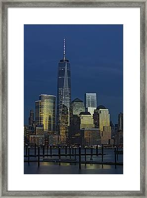 One World Trade Center At Twilight Framed Print by Susan Candelario