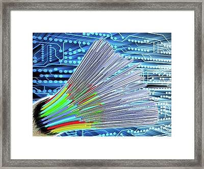 Optical Fibre Cable. Circuit Board Framed Print by Alfred Pasieka