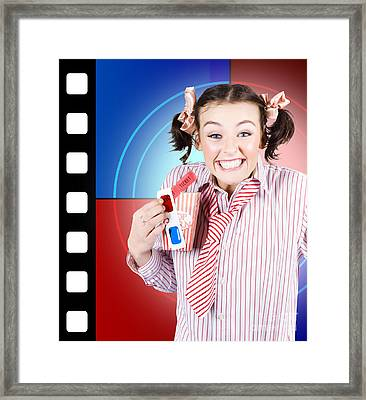 Overjoyed Nerd Woman At 3d Movie Premier Framed Print by Jorgo Photography - Wall Art Gallery