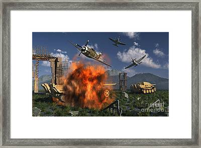 P-47 Thunderbolts Attacking German Framed Print by Stocktrek Images