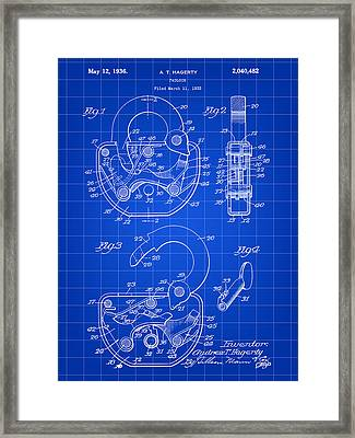 Padlock Patent 1935 - Blue Framed Print by Stephen Younts